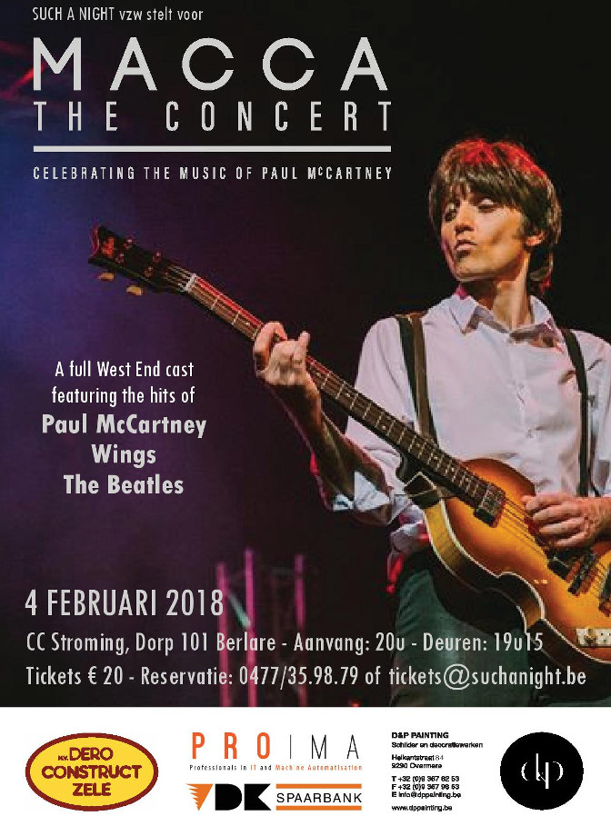 MACCA - The Paul McCartney Story - live @ Such A Night op 4 februari 2018 in het CC Stroming in Berlare