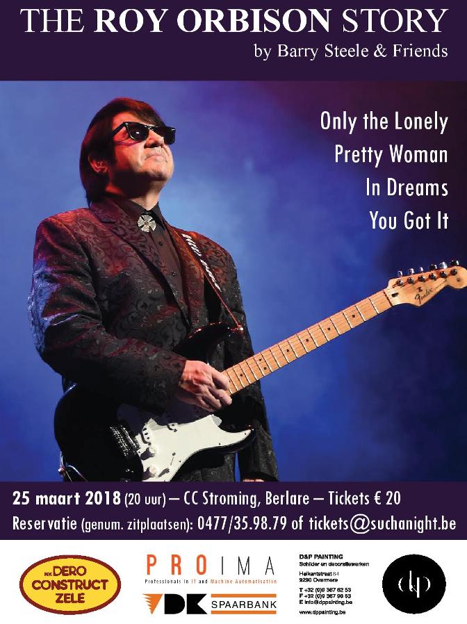 Flyer voorkant van The Roy Orbison Story op 25 maart 2018 in CC Stroming Berlare