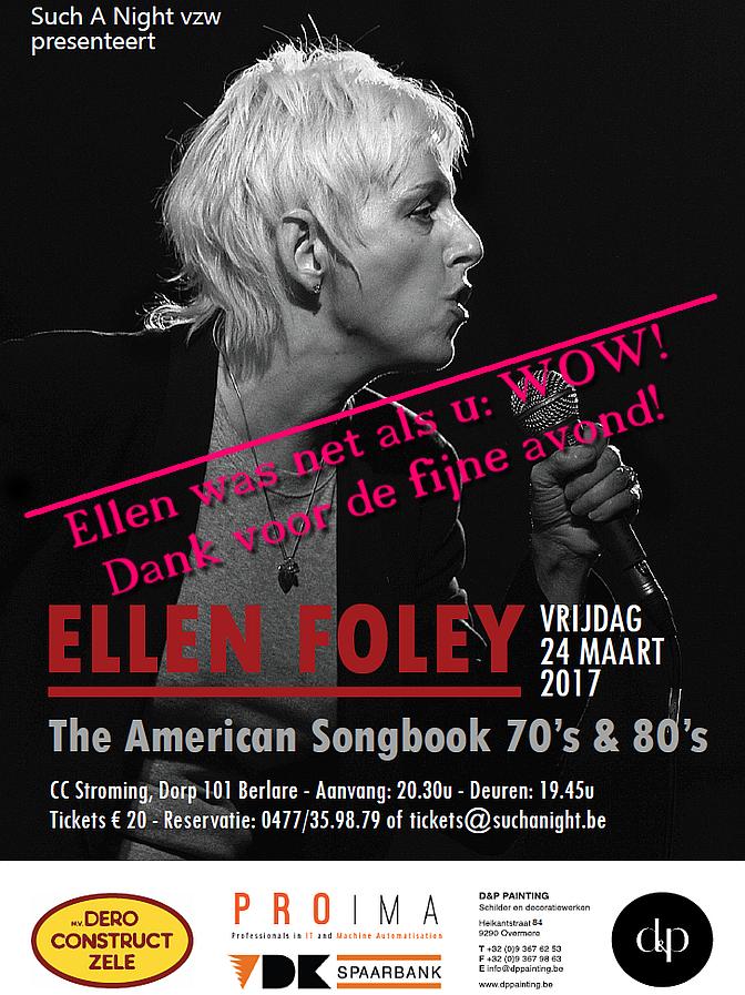 Ellen Foley op Such A Night in Berlare, maart 2017 ** Flyer **
